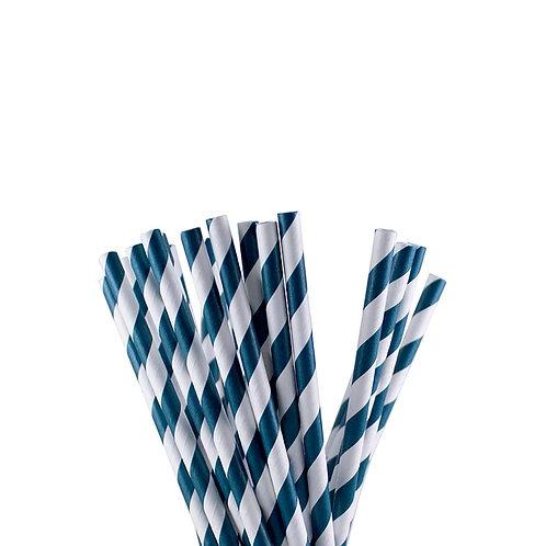 Blue Stripes Paper Straws