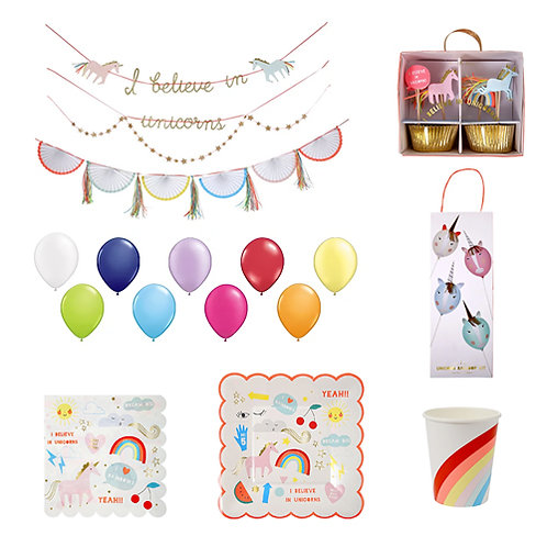 Unicorns + Rainbows Party Set