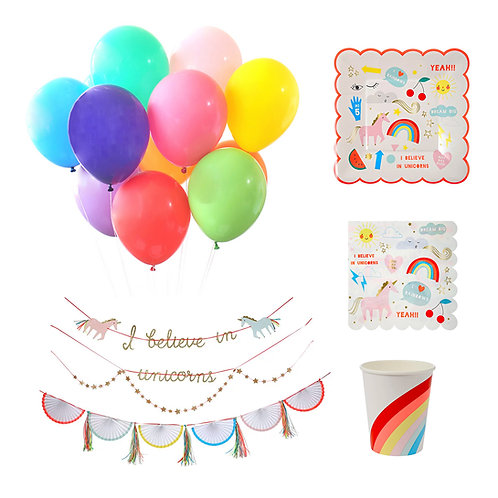 Unicorns + Rainbows Party Set