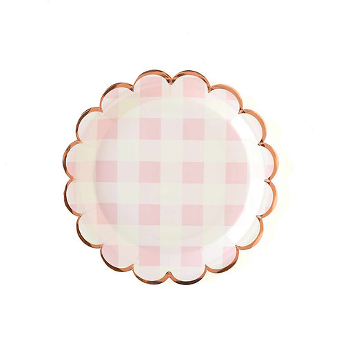 Plaid Scalloped Plates