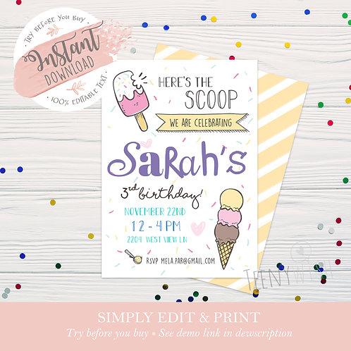 Ice Cream + Sprinkles Invite - Instant Download