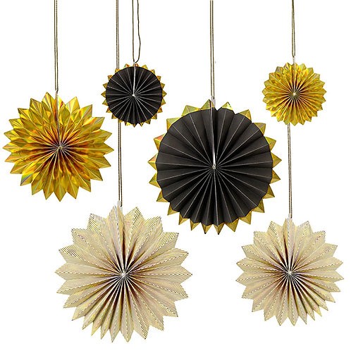 Black And Gold Pinwheel Decorations