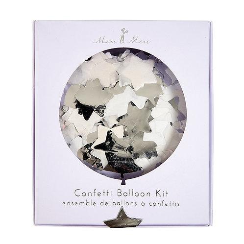 Confetti Silver Balloon Kit