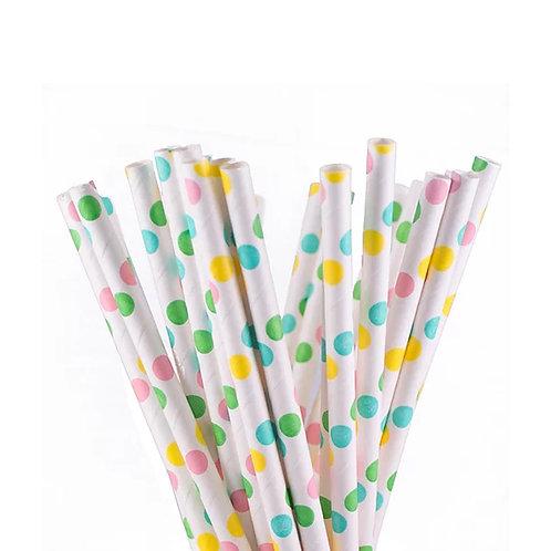 Pastel Polka Dots Paper Straws