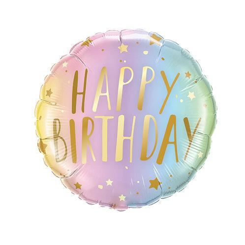 "18"" Birthday Pastel Ombre & Stars Foil"