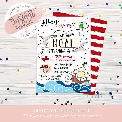 Ahoy There Pirate Invite - Instant Download!