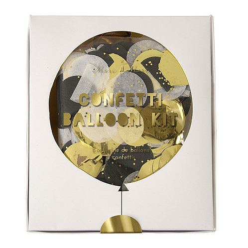 Gold & Black Confetti Balloon Decoration Kit!