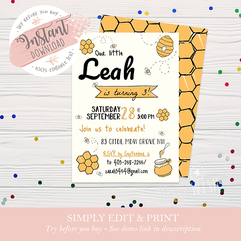 Bee Invite - Instant Download