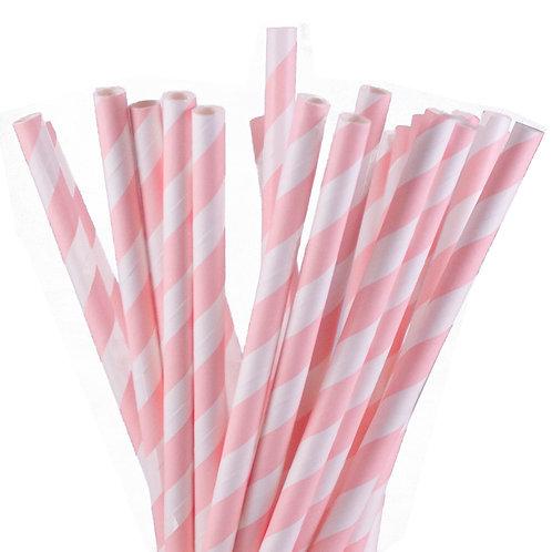 Light Pink Stripes Paper Straws