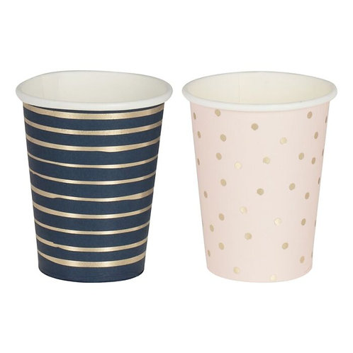 Gold Foiled Pink & Navy Mixed Cups