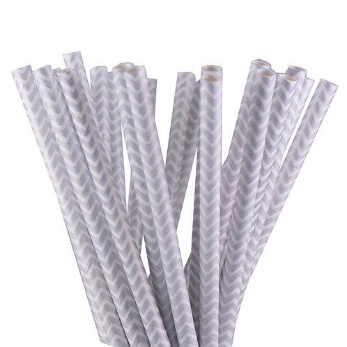 Metallic Silver Chevron Paper Straws