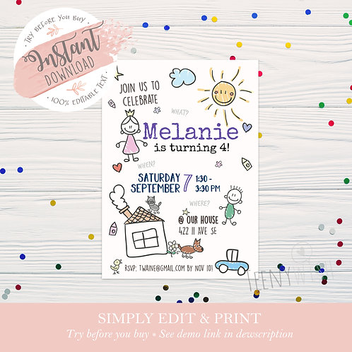Kids Invite - Instant Download