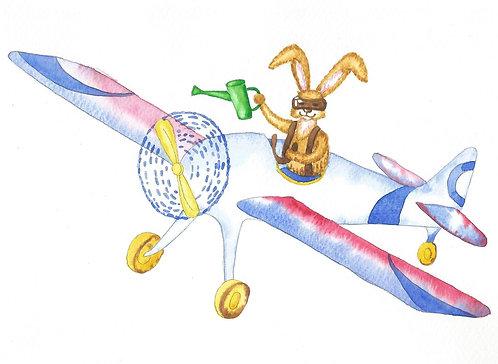 Зайчик на ретро аэроплане, садовод с лейкой. Картина для детской, акварель