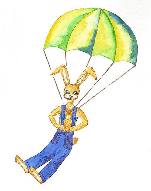 Зайчик парашютист. Картина для детской, акварель
