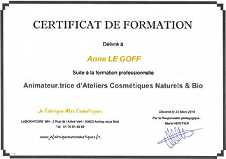 Anne Le Goff Cannang Certificat de formation Animatrice d'ateliers cosmétiques naturels et bio