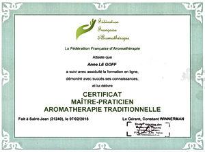 Anne Le Goff Cannanga Certificat maître-praticie arométhérape traditionnelle Fédération Française d'aromathérapie