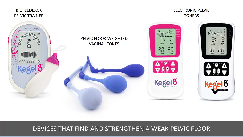Devices that find and strengthen weak pelvic floor muslces