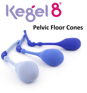 You get a set of 3 weighted pelvic floor cones. Largest Cone - 32mm diameter, 24g Weight. Medium Cone - 29mm diameter, 37g Weight. Smallest Cone - 25mm diameter, 48g Weight