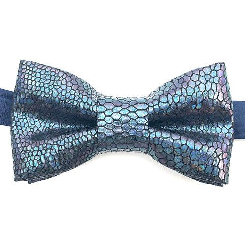 Noeud papillon métalique écaillé bleu