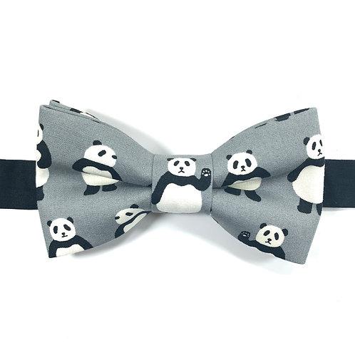 Noeud papillon gris  avec motifs pandas