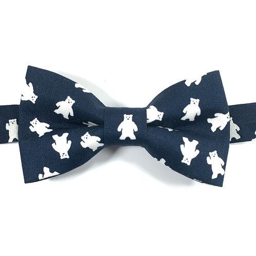 Noeud papillon bleu marine motifs ours blancs