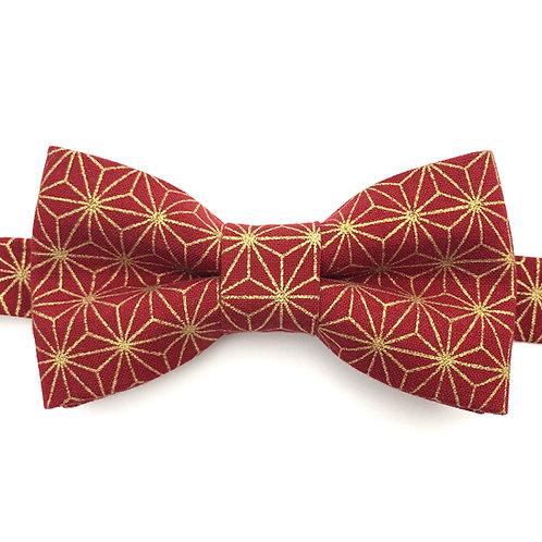 Noeud papillon rouge  motifs étoiles en or