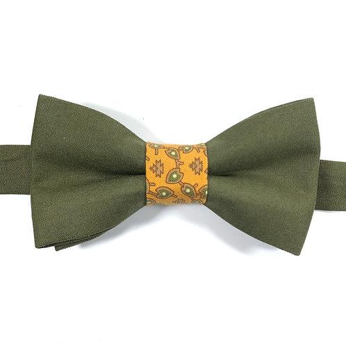 Noeud papillon kaki  avec bande centrale moutarde aux motifs d'arabesques kaki et brunes