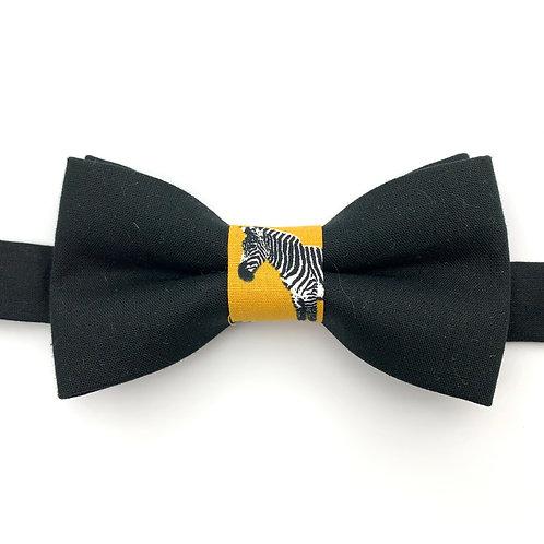 Noeud papillon bleu noir avec noeud aux motif zèbre