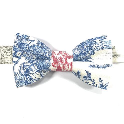 Noeud papillon  avec motif toile de Jouy bleu, gris et rouge