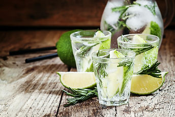 Drink with lime, rosemary, honey and sod