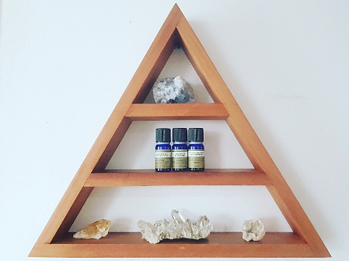 Alice Foley Fae Handmade Cedar Wood Triangle Crystal Shelf - Ostara // Medium