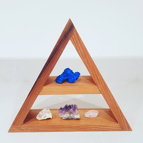 Alice Foley Fae Handmade Cedar Wood Triangle Crystal Shelf - Celeste // Small