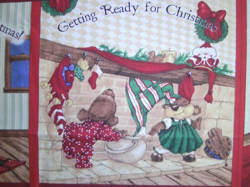 Teddy Bear Christmas children's soft story book fabric