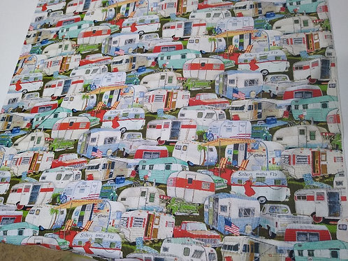 Vintage trailers cotton fabric Half Yard