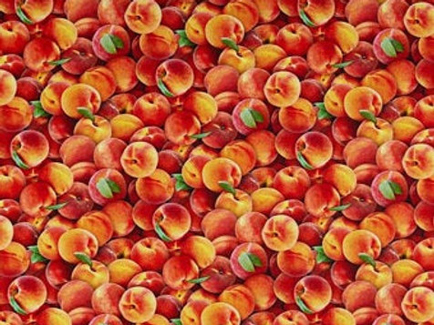 Peaches multi Food Festival cotton fabric 1/2 yard