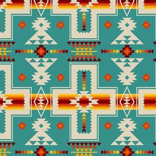 Tucson Southwest turquoise cotton fabric 1/2 yard