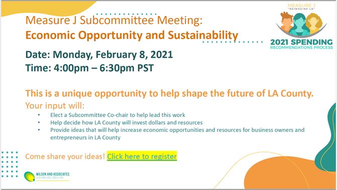 Measure J Subcommittee Meetings:  Week of February 8, 2021