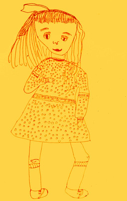 DRAWING THE FIGURE RED FELT PEN ON YELLOW CONSTRUCTION PAPER
