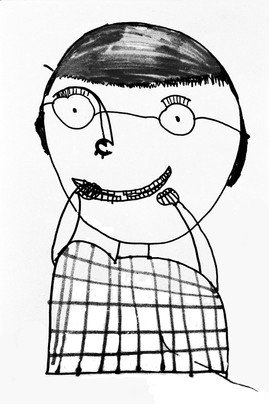 DRAWING SELF PORTRAIT FELT PEN ANIMATION ON HOME PAGE
