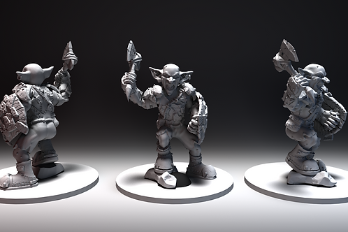 Goblin - Axe and Shield Charging - STL File