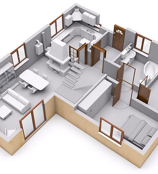3D rendering of house interior. Section