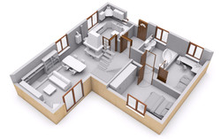 3D rendering of house interior
