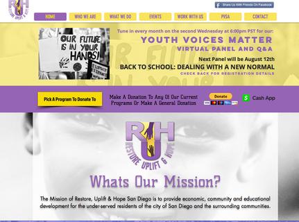 Website for Restore Uplift & Hope San Diego