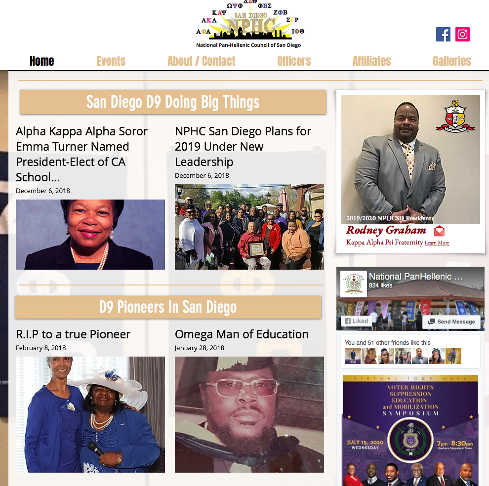 Website for National Pan Hellenic Council of San Diego