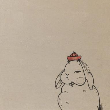 Hase mit Kappe