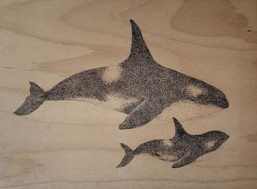 Acrylmarker auf Holz