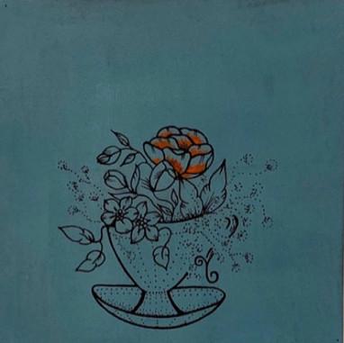 Tasse voller Blumen