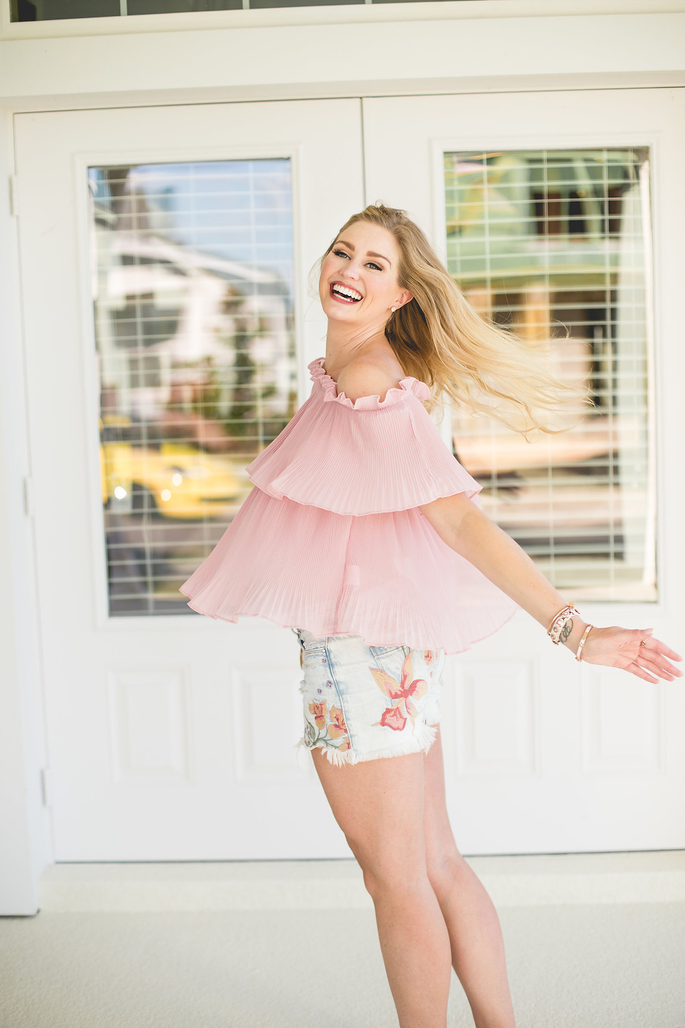 Pink Pleated Off the Shoulder Top