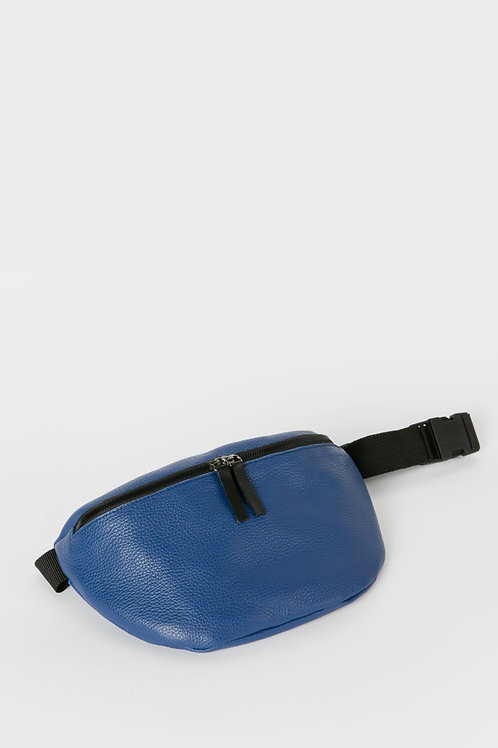 Metallic Blue Leather Belt Bag, HugBags