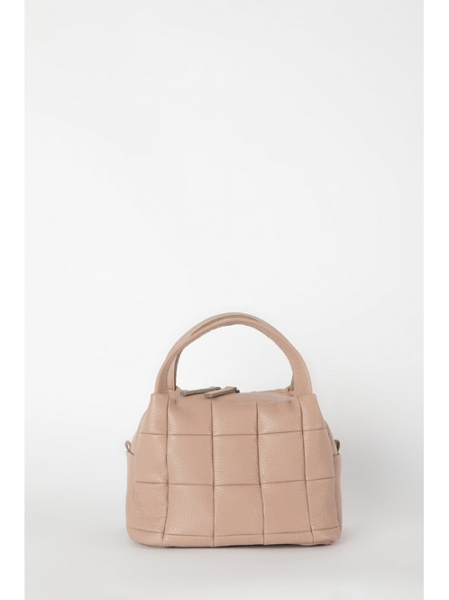 Dusty Pink Quilted Curved Top Handle Bag, HugBags